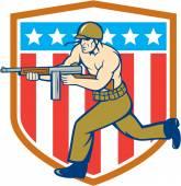 World War Two Soldier American Tommy Gun Shield — Stok Vektör