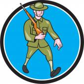 World War One Soldier British Marching Circle Cartoon — Stock Vector