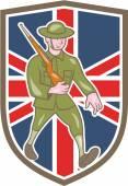 World War One Soldier British Marching Cartoon Shield — Stok Vektör