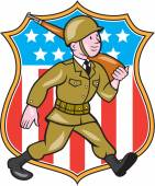 World War Two Soldier American Cartoon Shield — Stok Vektör