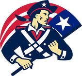 American patriot minuteman flag retro — Stock Vector