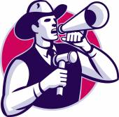Auctioneer Cowboy With Gavel And Bullhorn — Stock Vector
