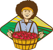 Farmer Boy Straw Hat Tomato Harvest — Stockvector