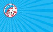 Business card Baseball Pitcher Outfielder Throwing Ball Circle Cartoon — Stock Photo