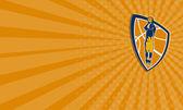 Business card Basketball Player Jump Shot Ball Shield Retro — Foto de Stock