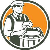 Cooper Barrel Maker Drum Retro Circle — Stock Vector