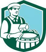 Cooper Barrel Maker Drum Retro Shield — Stock Vector