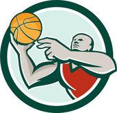 Basketball Player Lay Up Ball Circle Retro — Stock Vector