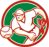 American Baseball Pitcher Throwing Ball Circle Retro — Stock Vector