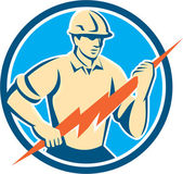 Electrician Holding Lightning Bolt Circle Retro — Stock Vector