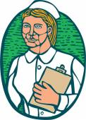 Nurse Holding Clipboard Oval Woodcut Linocut — Stock Vector