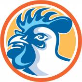 Chicken Rooster Head Side Circle Retro — Stock Vector