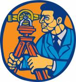 Surveyor Geodetic Theodolite Woodcut Linocut — Stock Vector