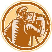 Photographer Vintage Bellows Camera Woodcut — Stock Vector