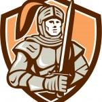 Knight Full Armor With Sword Shield Retro — Stock Vector #62297247
