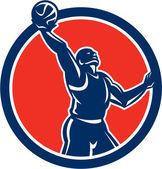 Basketball Player Rebounding Lay-Up Ball Circle — Stock Vector