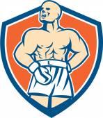 Boxer Champion Shouting Shield Retro — Stock Vector