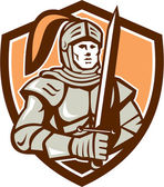 Knight Full Armor With Sword Shield Retro — Stock Vector