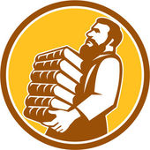 Saint Jerome Carrying Books Retro — Stock Vector