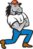 Horse Arms Crossed Kneeling Cartoon — Vetor de Stock