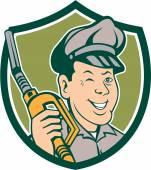 Gas Attendant Nozzle Winking Shield Cartoon — Stock Vector