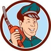 Gas Attendant Nozzle Winking Circle Cartoon — Stock Vector