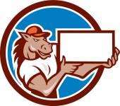 Horse Presenting Blank Sheet Board Circle Cartoon — Stock Vector