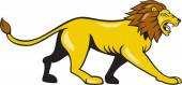 Angry Lion Walking Roar Cartoon — Stock Vector