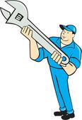 Mechanic Presenting Spanner Wrench Cartoon — Stock Vector