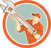 Mechanic Presenting Spanner Wrench Circle Cartoon — Vecteur
