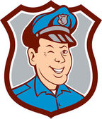 Policeman Winking Smiling Shield Cartoon — Stock Vector