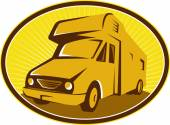 Camper Van Mobile Home Retro — Stock Vector