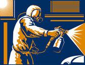 Spray Painter Painting Spraying Retro — Stock Vector