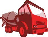 Cement truck lorry retro style — Stock Vector