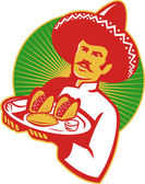 Mexican chef serving taco burrito empanada retro — Stock Vector