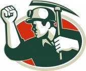 Coal Miner Pump Fist With Pick Ax Retro — Stock Vector