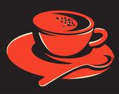 Coffee cup bubbles spoon retro — Stock Vector