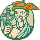 Hermes Holding Cadaceus Woodcut Linocut — Stock Vector