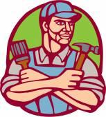 Builder Carpenter Paintbrush Hammer Linocut — Stockvector
