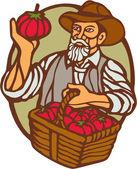 Organic Farmer Tomato Basket Woodcut Linocut — Stock Vector