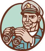 Navy Admiral Binoculars Circle Linocut — Stock Vector