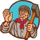 Union Worker With Sledgehammer Linocut — Stock Vector