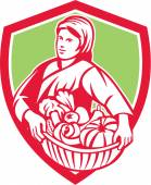 Female Organic Farmer Basket Harvest Shield Retro — Stock Vector