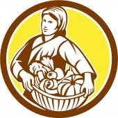 Female Organic Farmer Basket Harvest Retro — Stock Vector
