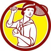 Female Tennis Player Racquet Vintage Circle Retro — Stock Vector