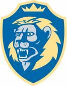 Angry Lion Head Roar Shield Retro — Stock Vector
