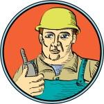 Builder Carpenter Holding Radio Phone Circle Retro — Stock Vector #62917571