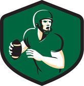 American Football Quarterback QB Shield Retro — Stock Vector