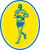 Marathon Runner Running Oval Retro — Stock Vector