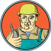 Builder Carpenter Holding Radio Phone Circle Retro — Stock Vector